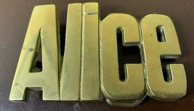 VINTAGE 1970s CUT-OUT NAME *ALICE* SOLID BRASS BELT BUCKLE TAIWAN ROC 4747