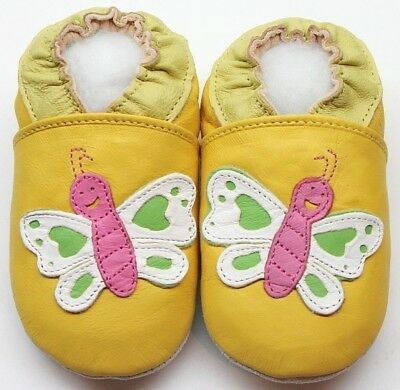 Minishoezoo owl yellow  0-6 m soft sole baby leather first shoes