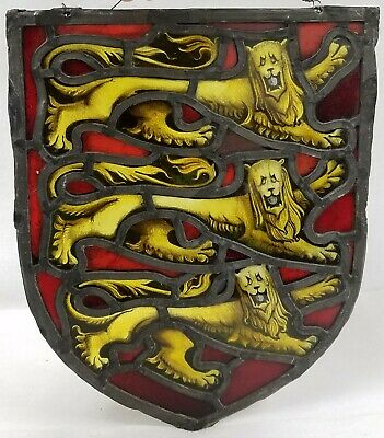 Antique Leaded Stained Glass Gothic Window with Heraldic Lions Hand Painted