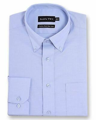 Double Two Mens Long Sleeved Non-Iron Oxford Cotton Rich Shirt (4900)