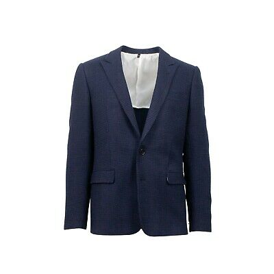 NWT CARUSO Navy Blue Houndstooth 2 Button Wool Blend Sport Coat 52/42 R Drop 10