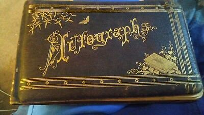 Antique 1880s Autograph Book Found in old trunk w old writings! its soft leather