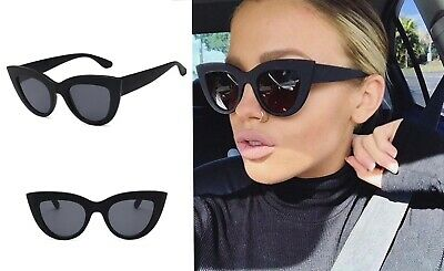 Women's Black Matte Cat Eye Oversized Vintage Sunglasses