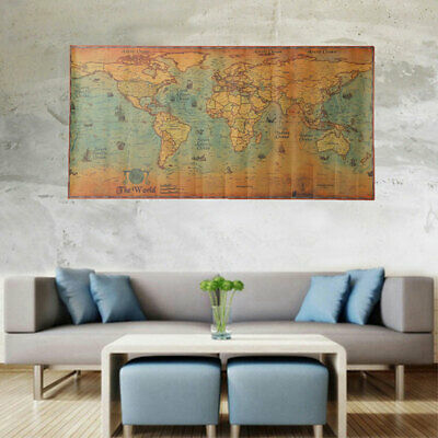 100*50cm World Map Vintage Poster Retro Home Bar Wall Decor Gifts