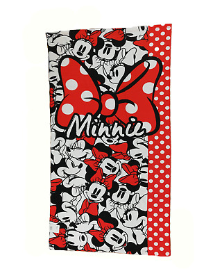 Telo Mare Bambina Disney Minnie Mouse 70x140 Poliestere Water Absorbent Rosso