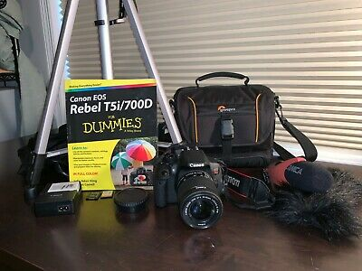 Canon EOS Rebel T5i, Tripod, Book, Microphone, and accessories