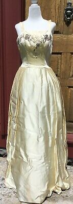 1940's 50's VINTAGE IVORY SATIN BALL OR WEDDING GOWN SPAGHETTI STRAPS BEADED