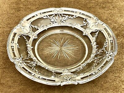 Antique French Silver And Crystal Plate 19Th Century