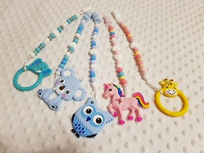 Silicone Teething Beads Pacifier Clip Chain Baby Chewable Teether UK seller