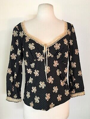 fae491427585c RARE ANTHROPOLOGIE Ribbon Lace Trimmed Long Sleeve Black Blouse. odille Size  8 M