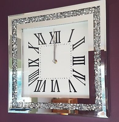 Loose Diamanté Mirrored Wall Clock Diamond Silver Crystal Gems Bling sparkle new