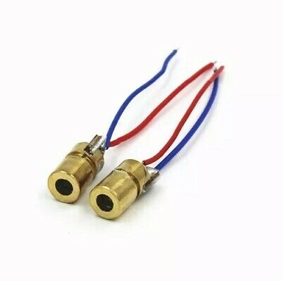 2 X 650nm 6mm 3V 5mW Laser Dot Diode Module Red Copper Head Mini Laser pointer