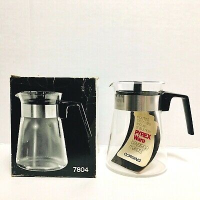 Corning Pyrex 4 Cup Glass Carafe Coffee Pot Black Handle Lid Stainless Band 7804