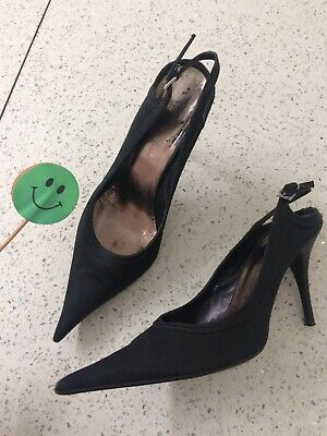 🌸 Vero Cuoio Uk5 Eur38 Italian High Heels Court Leather Pointed Black Italy