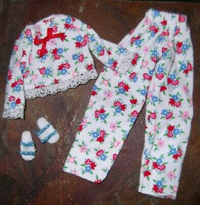 BARBIE DOLL CLOTHES SHOES - 2pc FLOWER PRINT PAJAMAS w/ SLIPPERS
