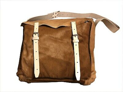 French  Havresac shoulderpack 100%  Real Natural Cowhide  Skin Leather