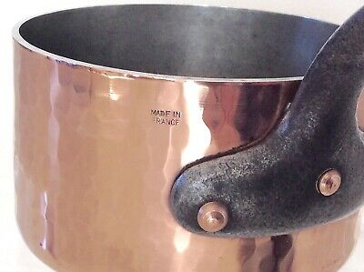 NICE Antique Old French Copper 1Qt Sauce Pan Pot Hammered HEAVY Cast Iron Handle