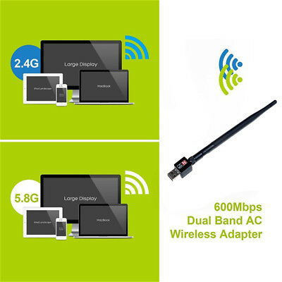 2.4Ghz 600Mbps doble banda usb inalámbrico wifi red lan adaptador antena XM