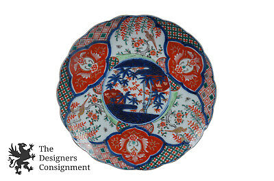 "Antique Meiji Period Japanese Imari Porcelain Charger Plate 12"" Bamboo Birds"