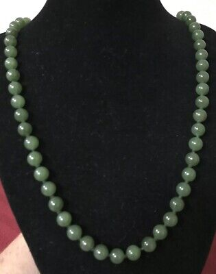 Vintage Chinese Export Apple Green Jade Nephrite Ball Bead Necklace 25""