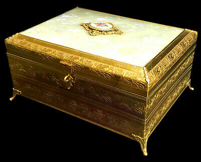 ESTATE:  ANTIQUE JEWELRY BOX, ORMOLU CASKET, MOTHER of PEARL CELLULOID