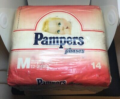 Vintage PAMPERS Phases MEDIUM Diapers For Boys / Girls 14ct RARE