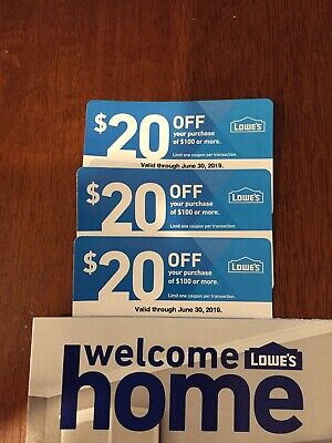3x Lowes Lowe's coupons 20 off 100