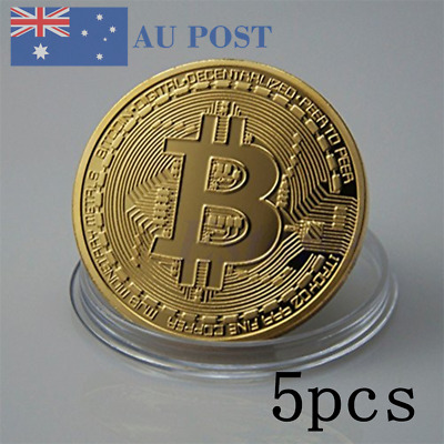 5pcs Gold Bitcoin Commemorative Round Collectors Coin Bit Coin Gold Plated Coin