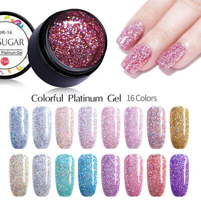 UR SUGAR 7ml Platinum Gel Polish Shining Holographic Soak Off UV Gel Varnish