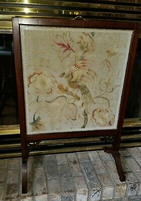 Antique 19th C VICTORIAN Carved Mahogany NEEDLEPOINT Bird FIRESCREEN