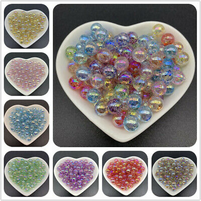 8/10/12mm Acrylic Spaced beads Transparent Round Loose Beads For Jewelry Making