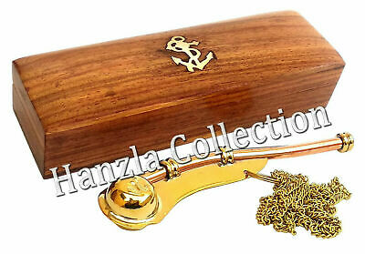 Nautical Maritime Brass/Copper Boatswain Whistle~Bosun Call Pipe With Wooden Box