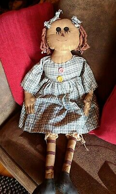 Country Primitive Folk Art Raggedy Ann, Handstitched Eyes, Tea Stained Body...