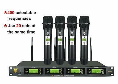 PRORECK UK-4000 UHF 4 Channel Wireless Microphone System Selectable Frequencies