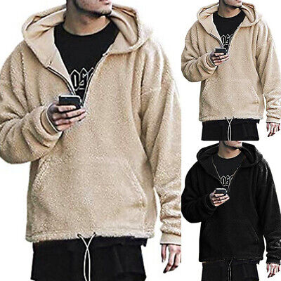 AU Mens Winter Casual Plush Solid Hooded Sweatshirt Pullover Long Sleeve Hoodies