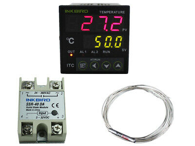 ITC100VH PID Digital Temperature Controller Thermostat 40 SSR +PT100 + Heat Sink