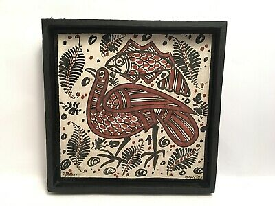 Vintage Ceramic Pottery Tile Framed Hand Painted Manises Chenoll Exotic Bird Fis