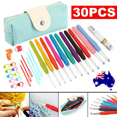 30Pcs Grip With handle Bag Needles Knitting Sets Soft Crochet Sewing Tools Hooks