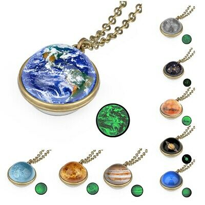 Luminous Necklace Universe Galaxy Solar System Planet Glass Ball Pendant Chain