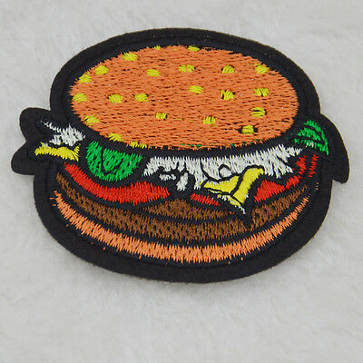 Hamburger Embroidery Iron/sew on patch Burgers For clothing Applique badge Motif