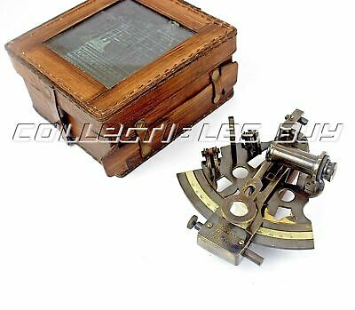 Nautical Solid Brass Sextant Maritime Astrolabe Survey Instrument Leather Box