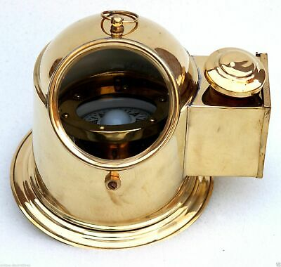Nautical Binnacle helmet gimbaled compass with classy shiny brass finish home