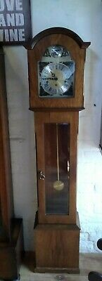 Granddaughter clock, Danish Oak case with German movement, West chimes