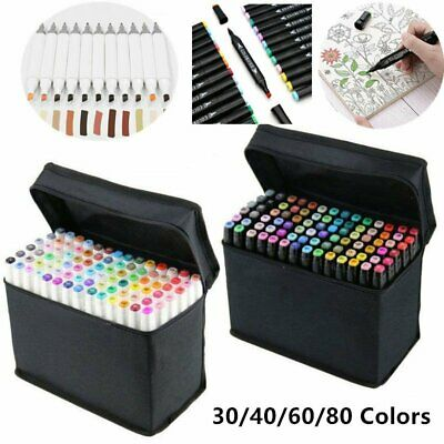 30/40/60/80 Colors Sets Oil Marker Pen Dual Headed Artist Sketch Copic Drawing