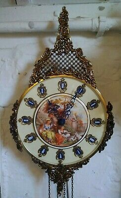 Weight driven wall clock, French style, lovely scene on the face, 8 day