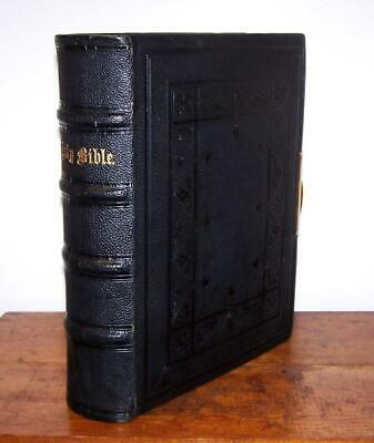 1880 Large Victorian HOLY BIBLE Full Leather HAND PAINTED PRESENTATION PAGE