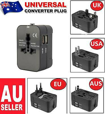 Universal Travel Adapter Dual 2 USB Converter Plug Charger AC Power UK US EU AU