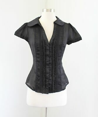 NWT Bebe Black Silk Pintuck Lace Trim Top Blouse Size XS Button Front V-Neck