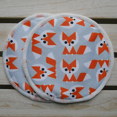 Reusable Washable Breast Pads - Foxes style - Set of 3 Pairs