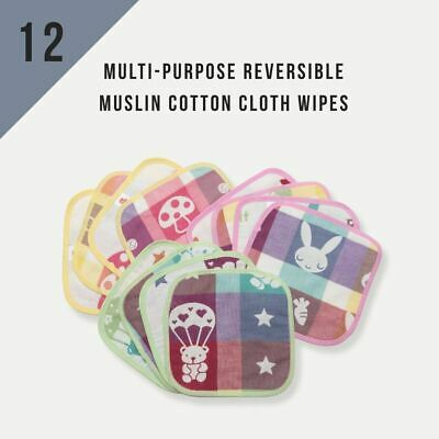 12/Pack KaWaii Baby Muslin Cotton Diaper Wash Cloth Wipes Reversible Washable
